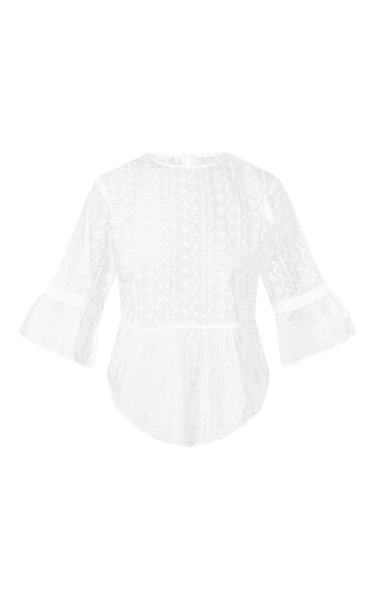 White Broderie Anglaise Crew Neck Smock Top  3