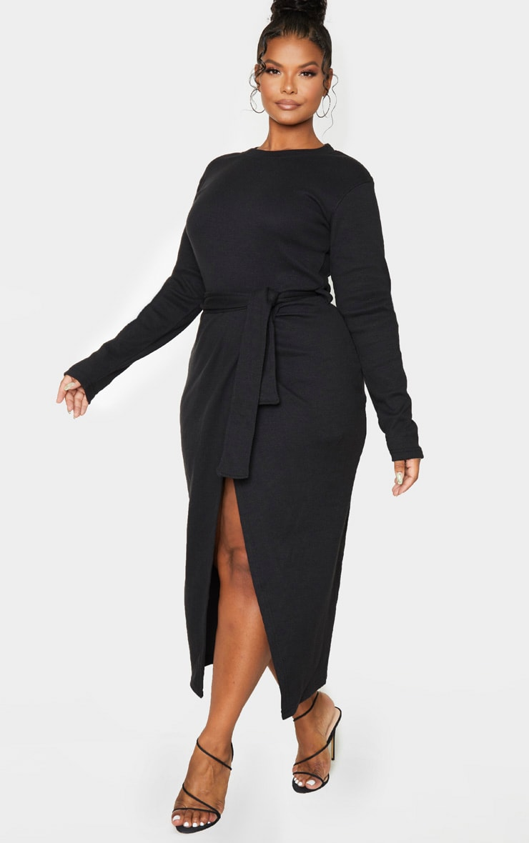Plus Black Thick Rib Tie Waist Wrap Midi Dress 4