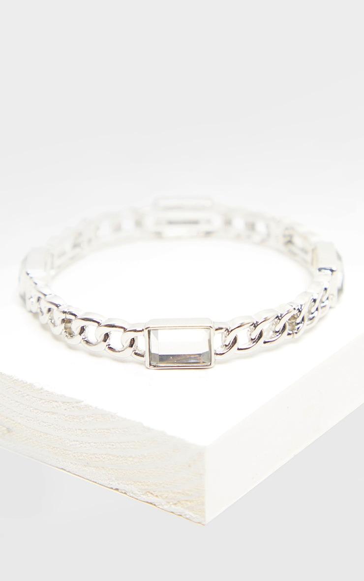 Silver Crystal Stone Chain Bangle 2