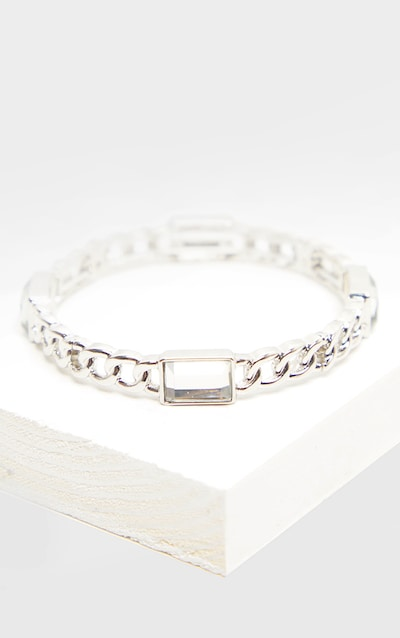 Silver Crystal Stone Chain Bangle
