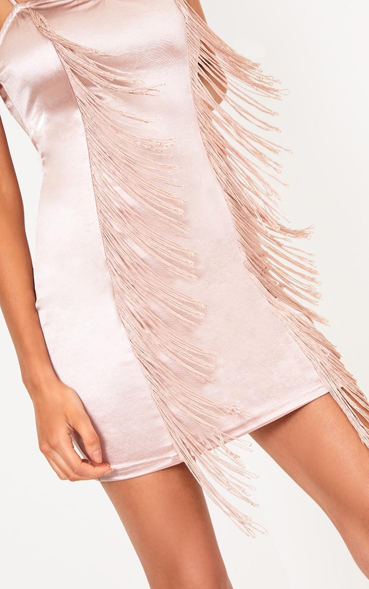 Nude Fringe Detail Bodycon Dress 4