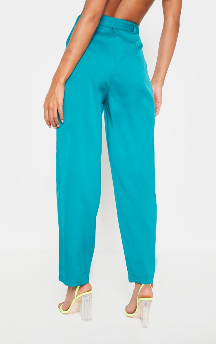 Teal Woven High Waisted Cigarette Trouser 4