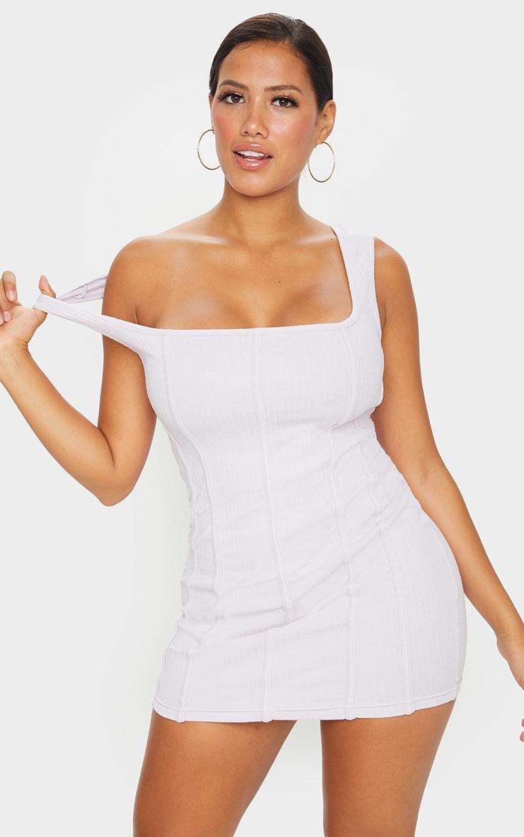 Shape Lilac Thick Rib Seam Detail Bodycon Dress 1