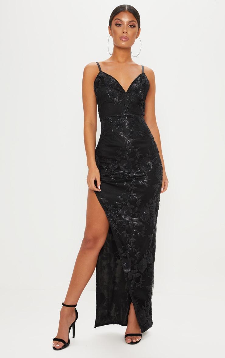 6b9d740b573f Black Strappy Sequin Split Maxi Dress | PrettyLittleThing USA