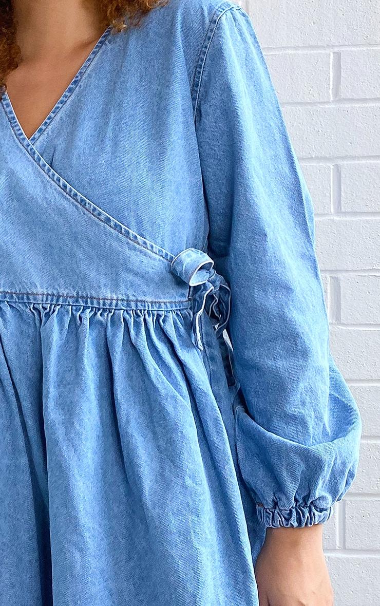 Plus Light Blue Wash Wrap Detail Denim Dress 3