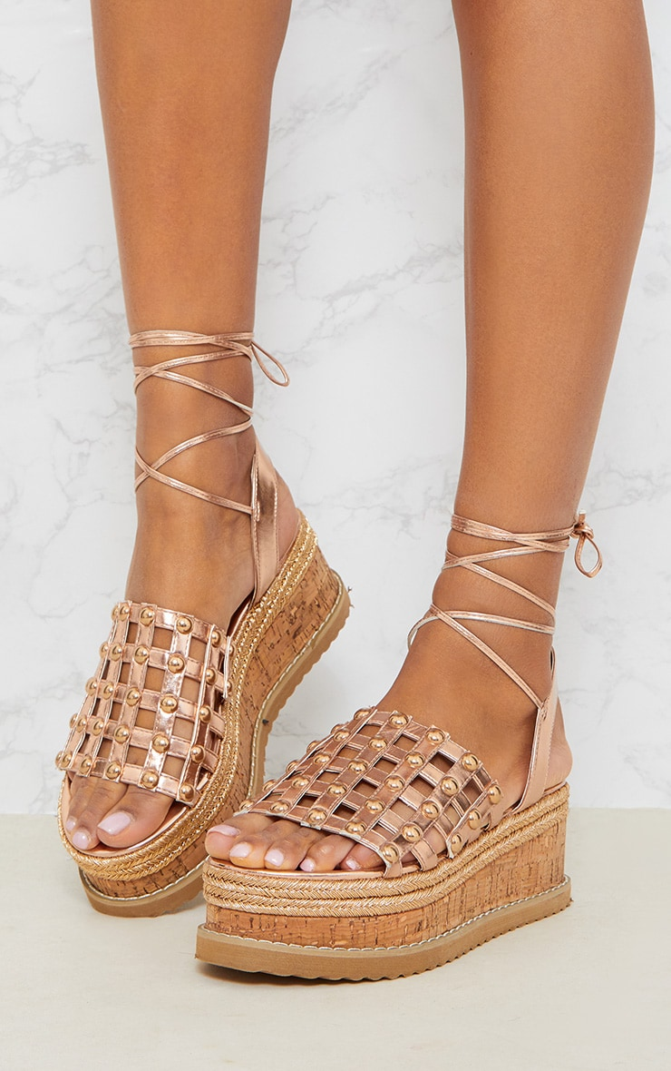 Rose Gold Dome Studded Espadrille Flatform