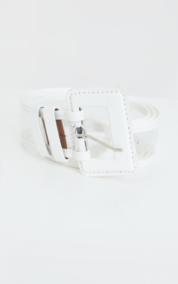White Buckle Clear PU Waist Belt 2