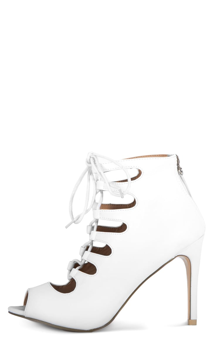 Rosalie White Lace Up Heeled Sandals  1