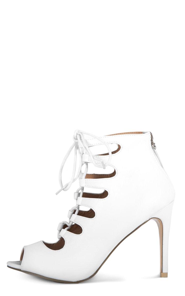 Rosalie White Lace Up Heeled Sandals  1