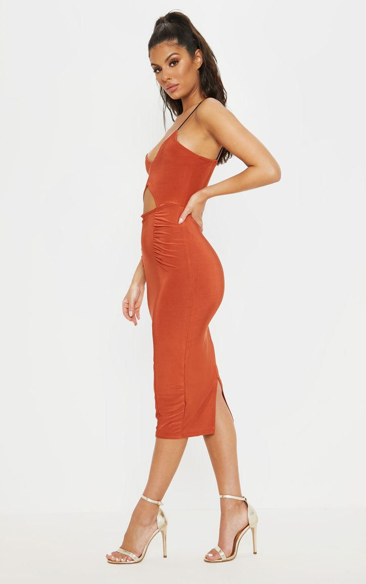 Rust Cut Out Detail Ruched Front Midaxi Dress 4