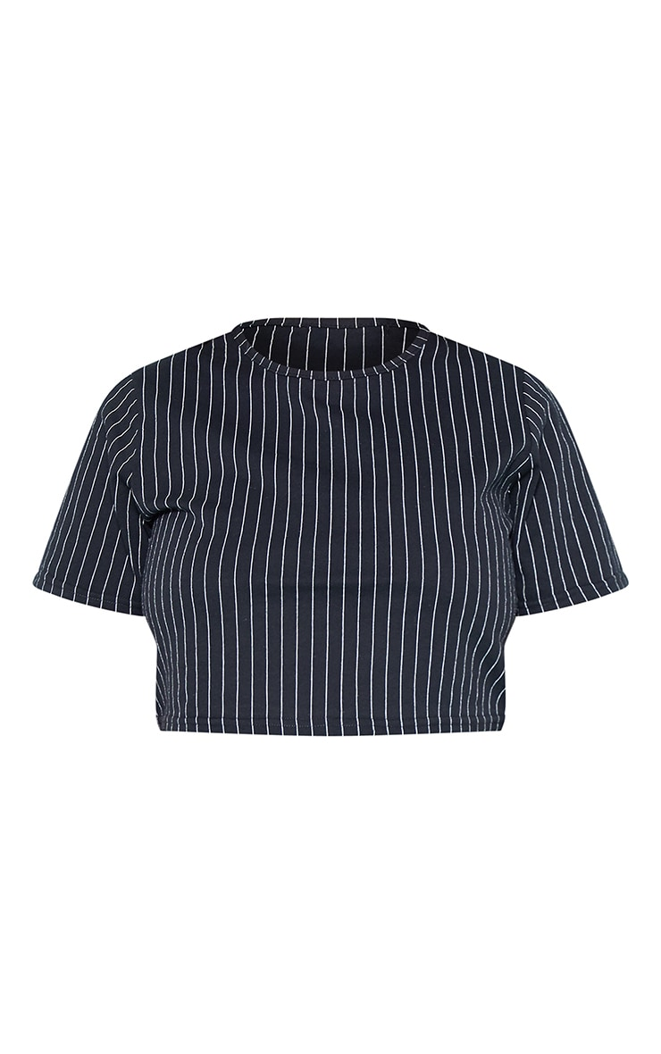 RECYCLED Plus Black Pinstripe Crop T Shirt 3