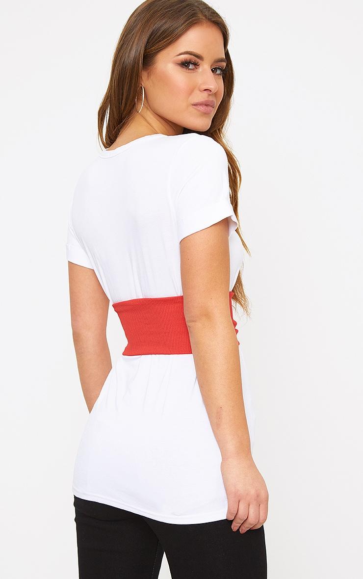 Petite White Jersey Corset T-Shirt 2