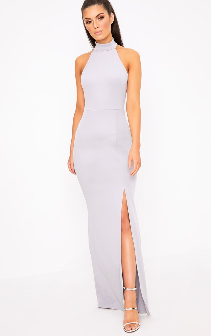 6f566243cb Ice Grey High Neck Maxi Dress image 1