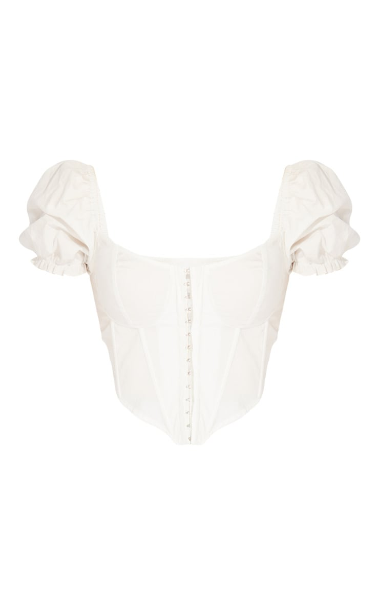 White Woven Puff Sleeve Cropped Top 5