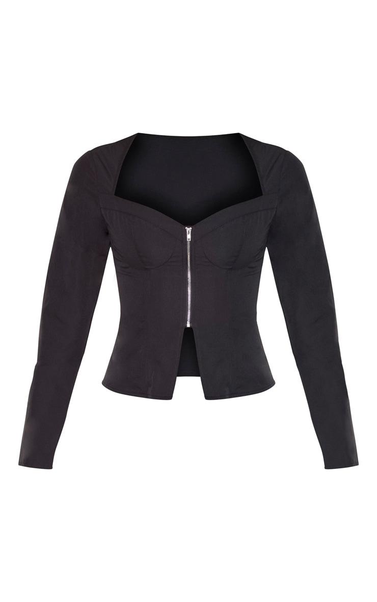 Black Woven Long Sleeve Zip Front Corset Top 3