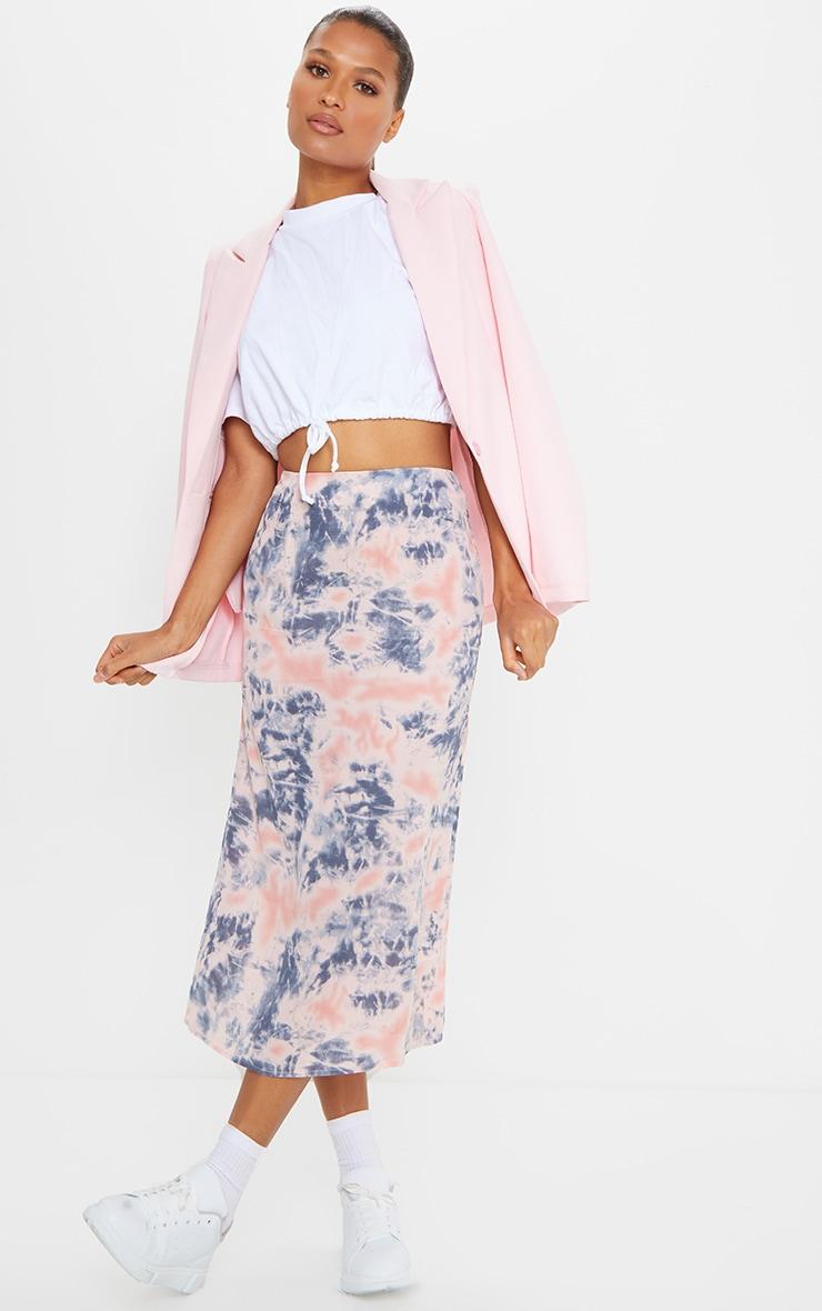 Pink Tie Dye Woven Midi Skirt 1