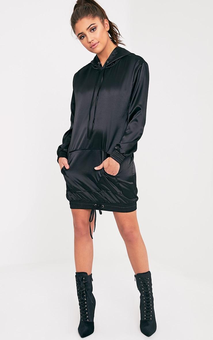 Maya Black Satin Oversized Hoodie Dress 5
