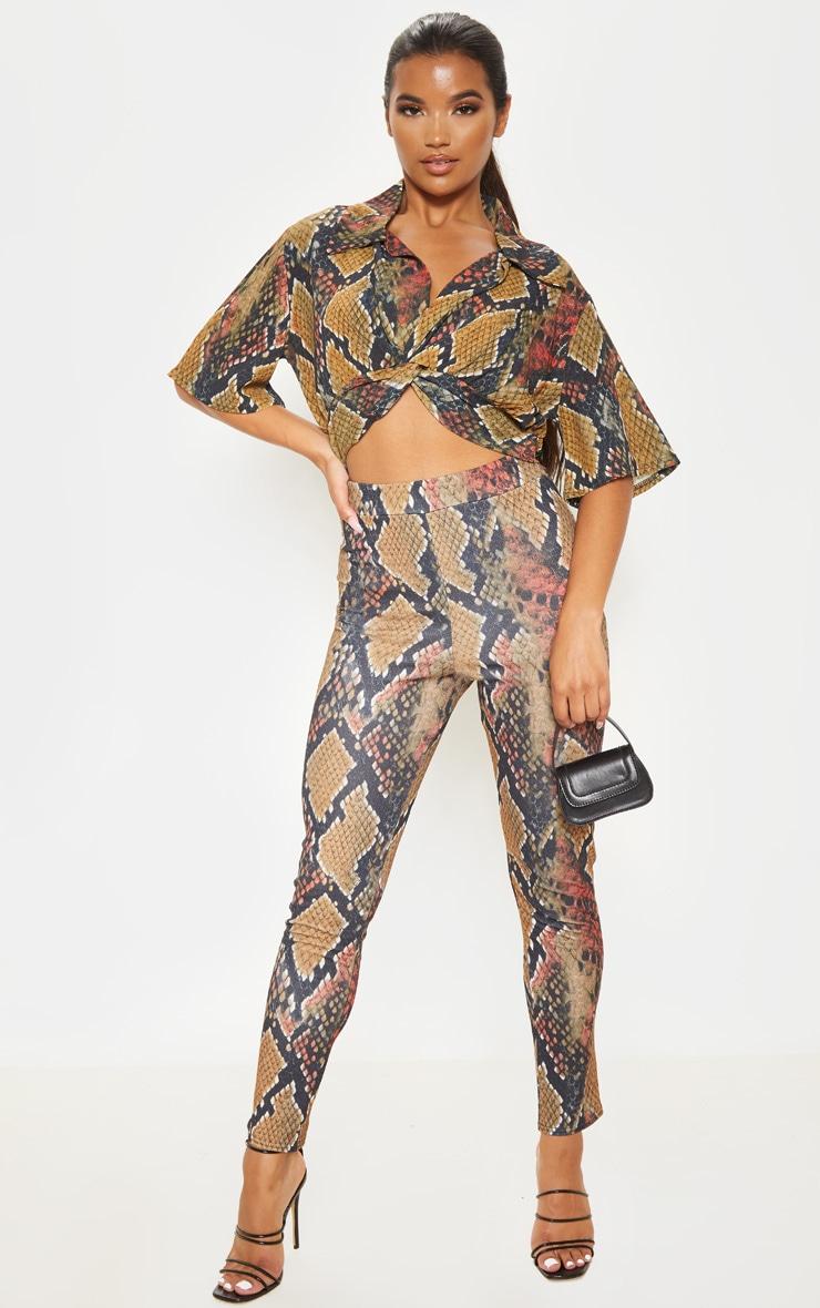 Rust Snake Print Skinny Pants  1