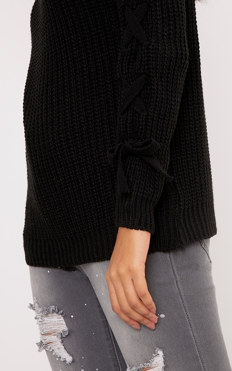Amira Black Sleeve Tie Detail Jumper 4