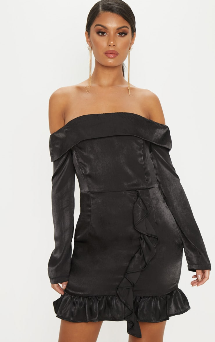 Black Satin Bardot Frill Bodycon Dress 1