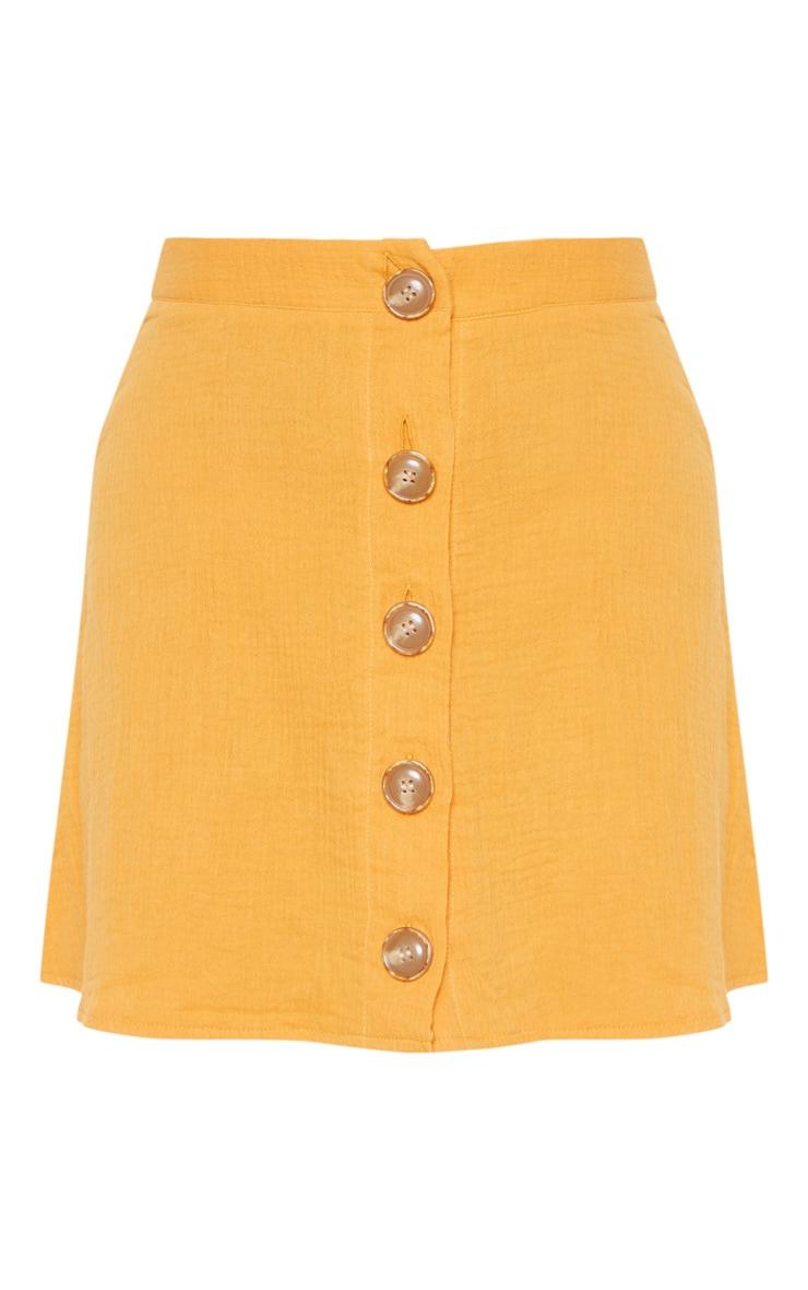 Mustard Button Front Linen Feel Mini Skirt 3