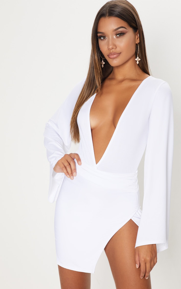 white-drape-sleeve-plunge-extreme-split-leg-bodycon-dress by prettylittlething