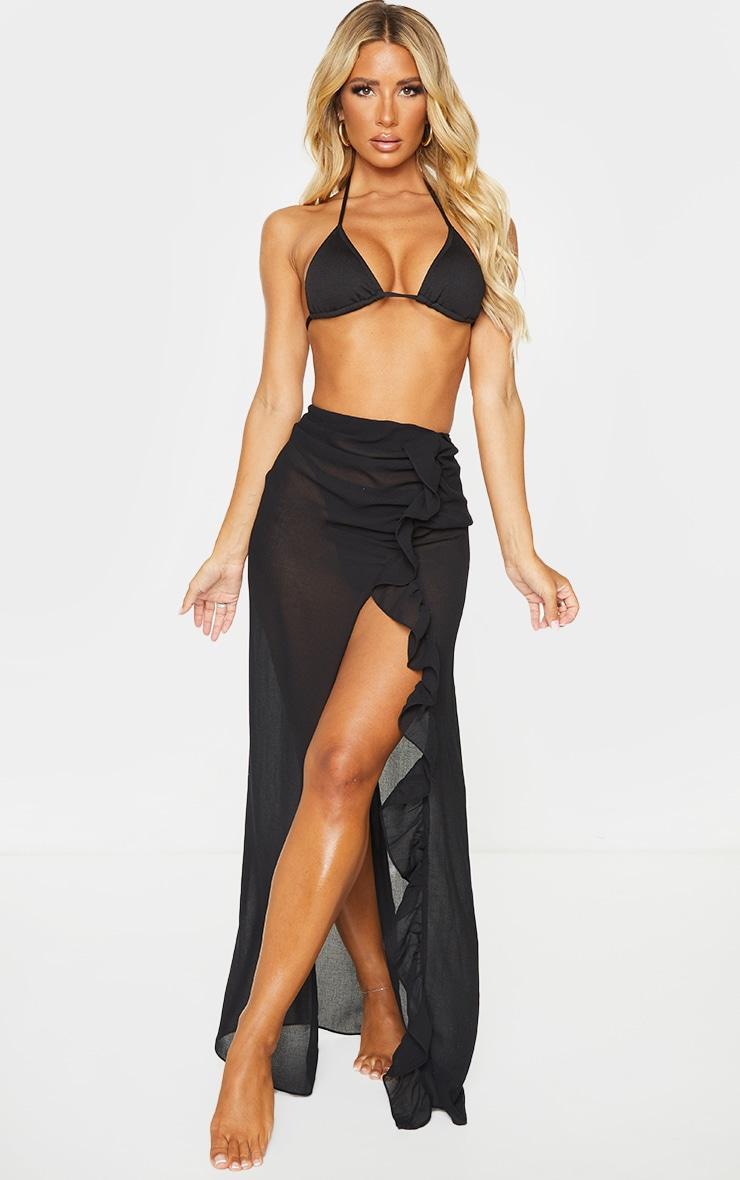Black Frill Side Maxi Beach Skirt 1
