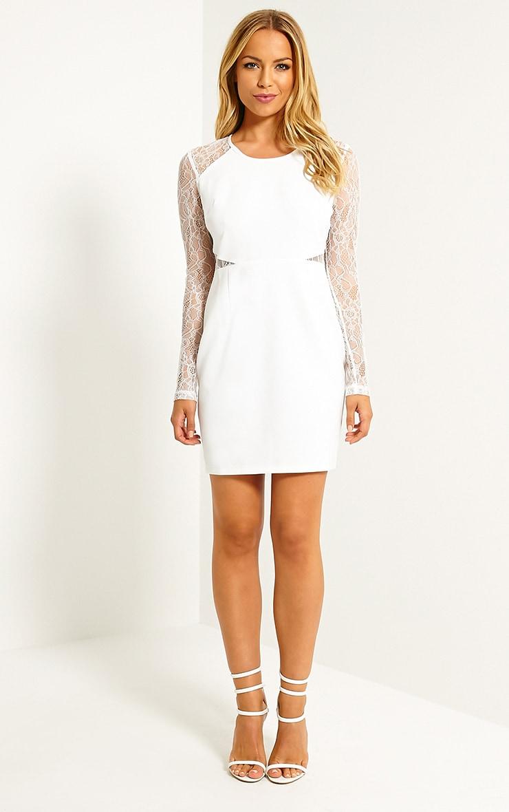 Katrine White Lace Sleeve Mini Dress 3
