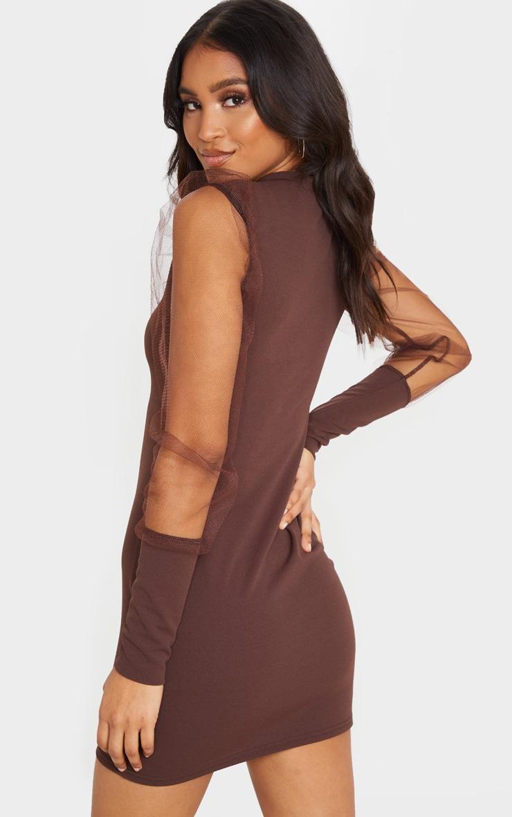 Chocolate Organza Puff Sleeve High Neck Bodycon Dress 2