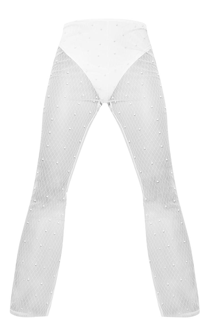 Cream Mesh Beaded Detail Knicker Insert Flare Trousers 5
