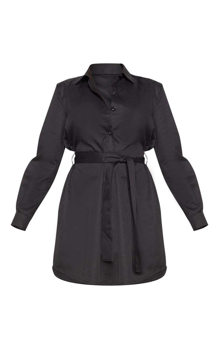 Black Pleated Woven Shirt Dress 3