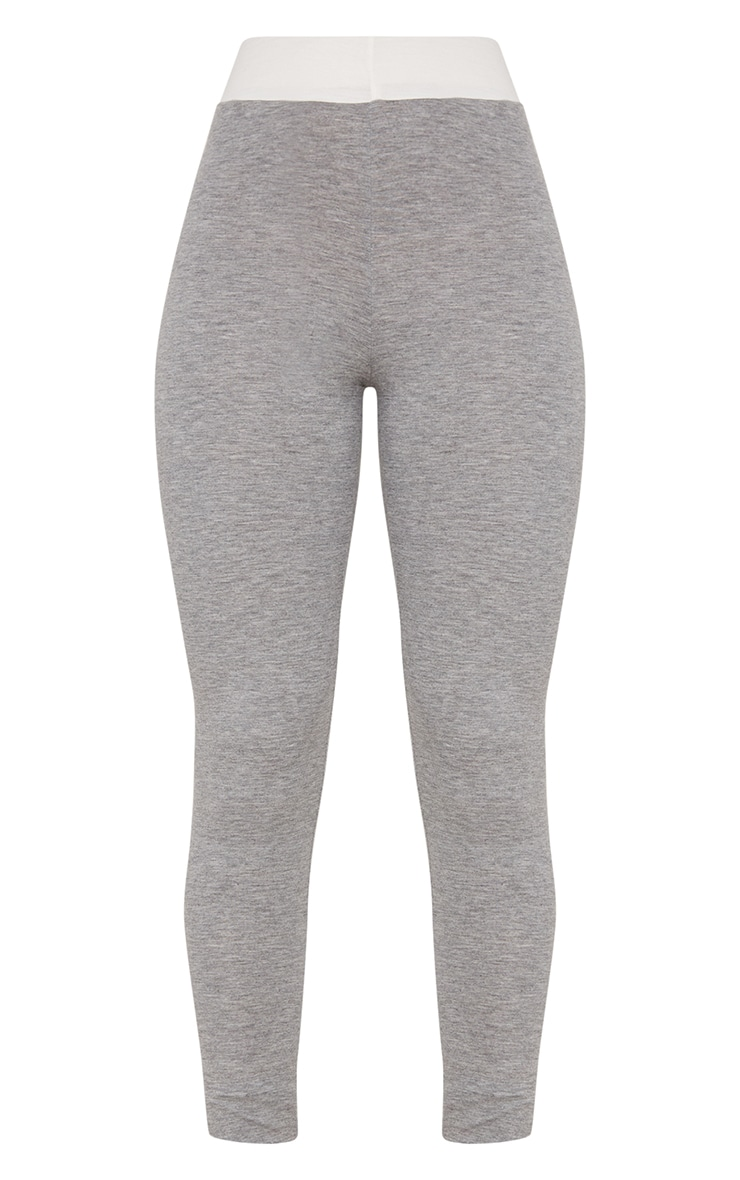 Grey Contrast Waist Band Leggings  3