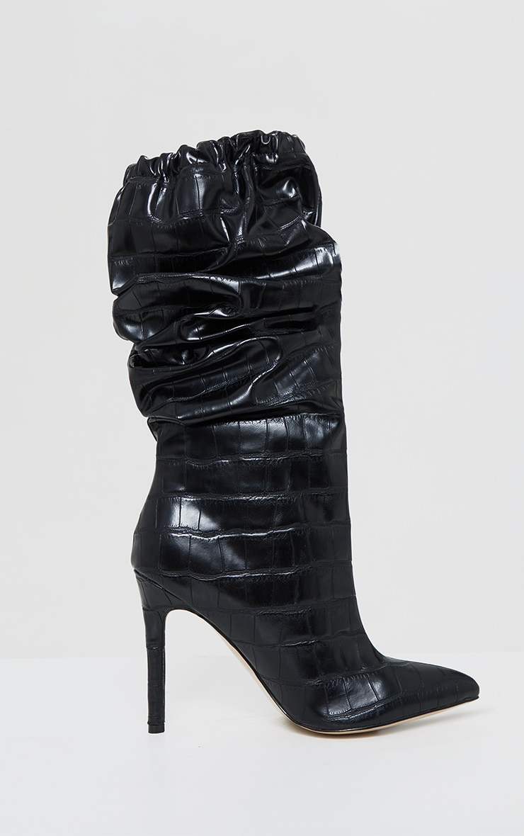 Black Slouch Calf High Point Boots 4