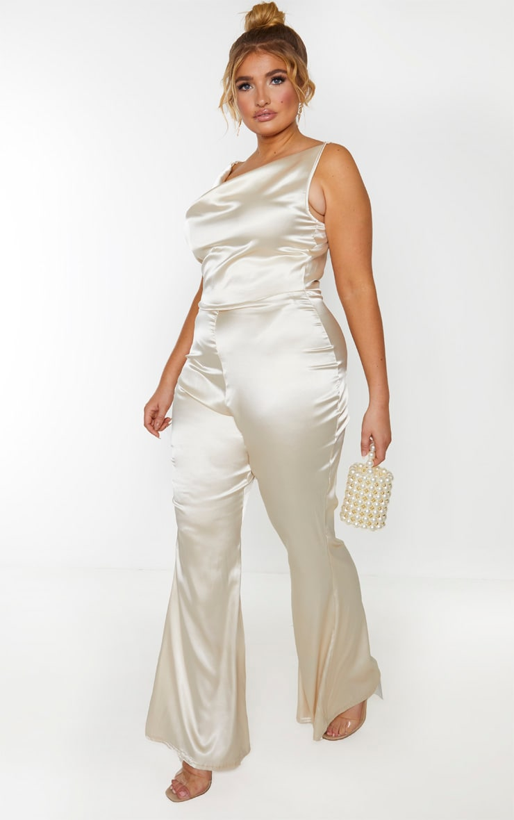 Plus Champagne Cowl Neck Satin Flared Jumpsuit 4