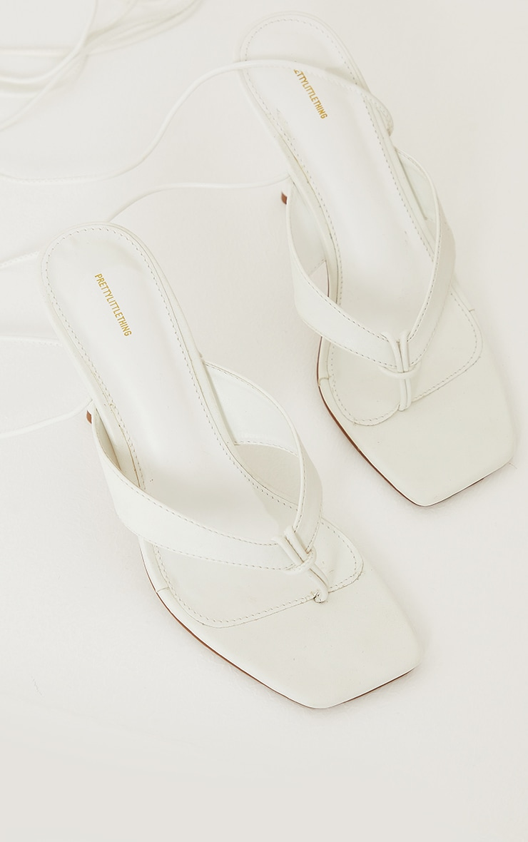 White PU Toe Thong Lace Up Mid Heeled Sandals 3