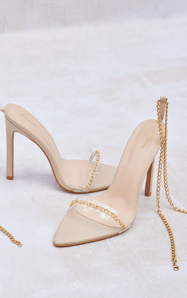 Nude Wide Fit Chain Detail Pointed Heeled Sandals 4