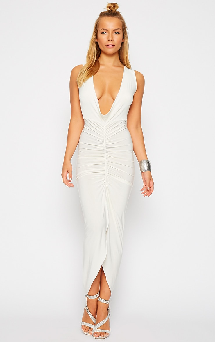 Meghan Cream Slinky Ruched Maxi Dress 3