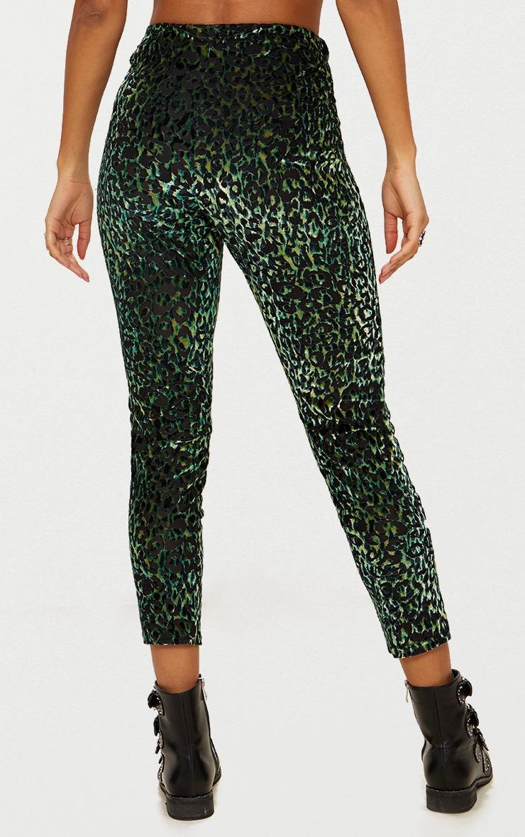Green Velvet Leopard Trousers  4