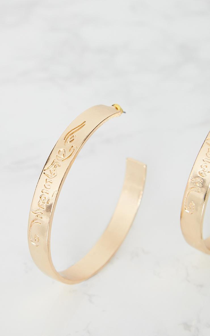 Gold Script Chunky Hoop Earrings 4