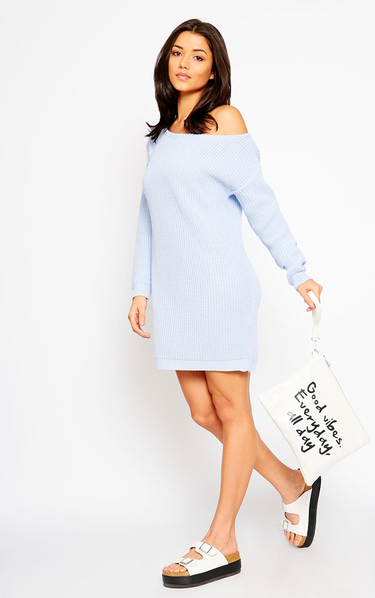 Larissa Powder Blue Off The Shoulder Knitted Dress 6