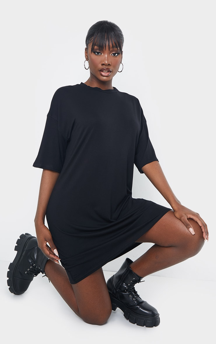 Tall - Robe tee-shirt noire oversize 1