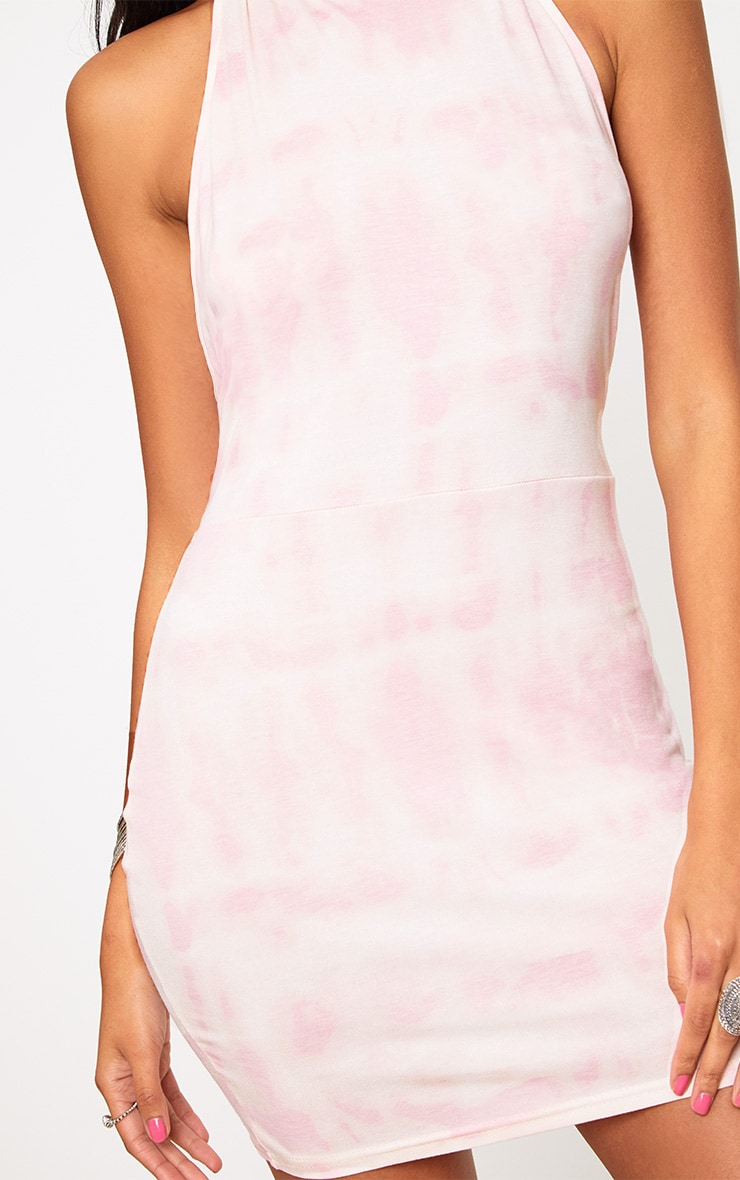 Pink Tie Dye Strappy Halterneck Bodycon Dress 5
