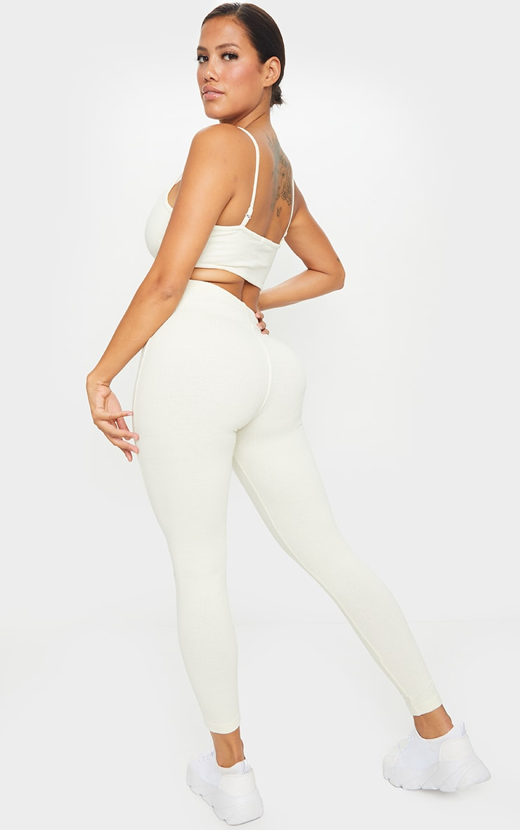 Shape Cream Thick Rib Strappy Cut Out Back Jumpsuit 2