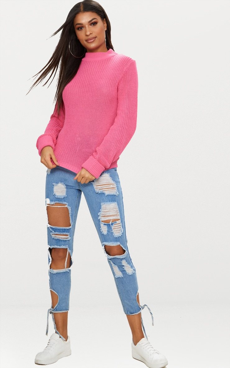 Pink Fisherman Rib Turnback Jumper 4
