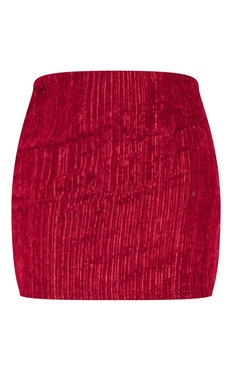 Burgundy Crushed Velvet Ribbed Mini Skirt 3