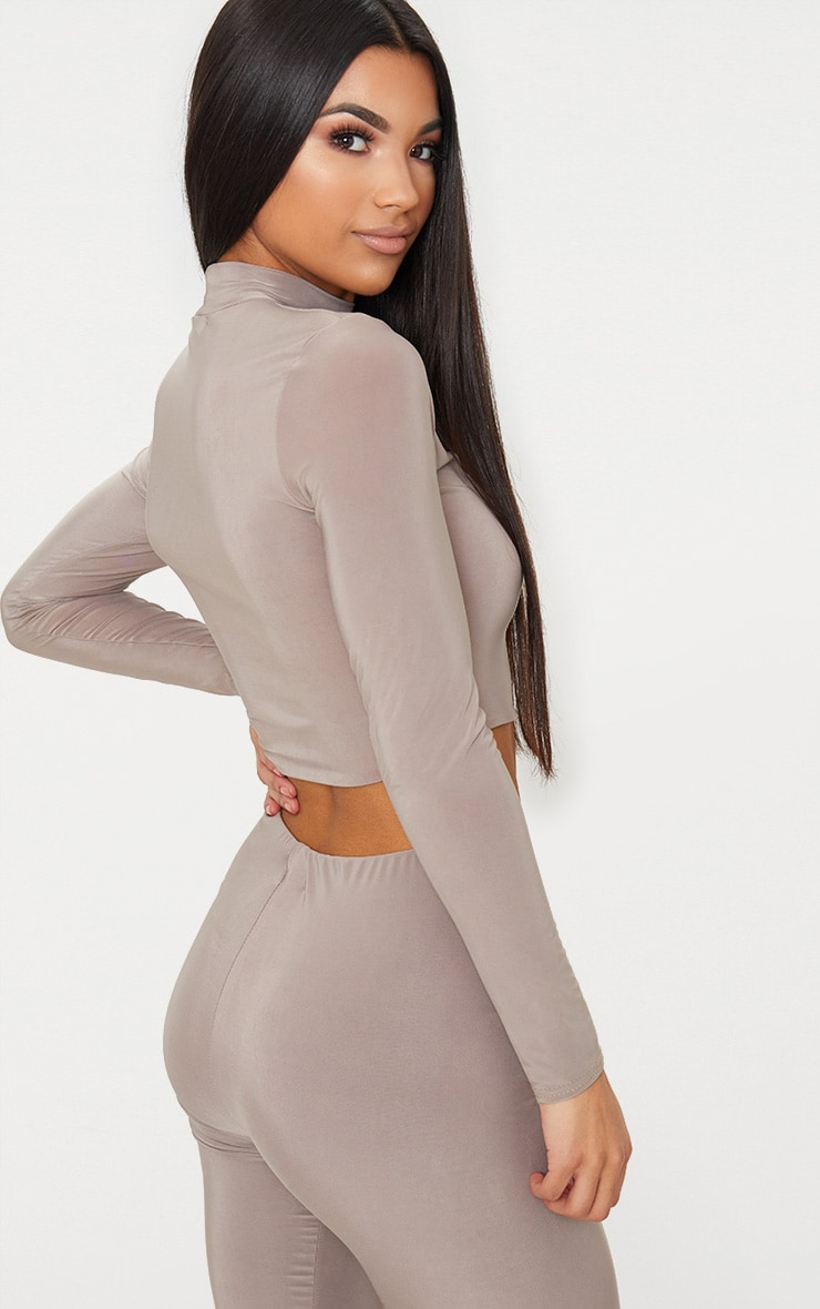 Taupe Slinky High Neck Long Sleeve Crop Top 2