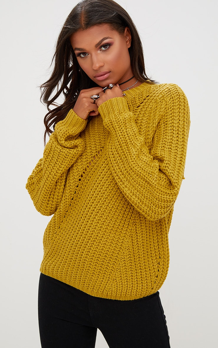 Yellow Chunky Knit Round Neck Jumper 1