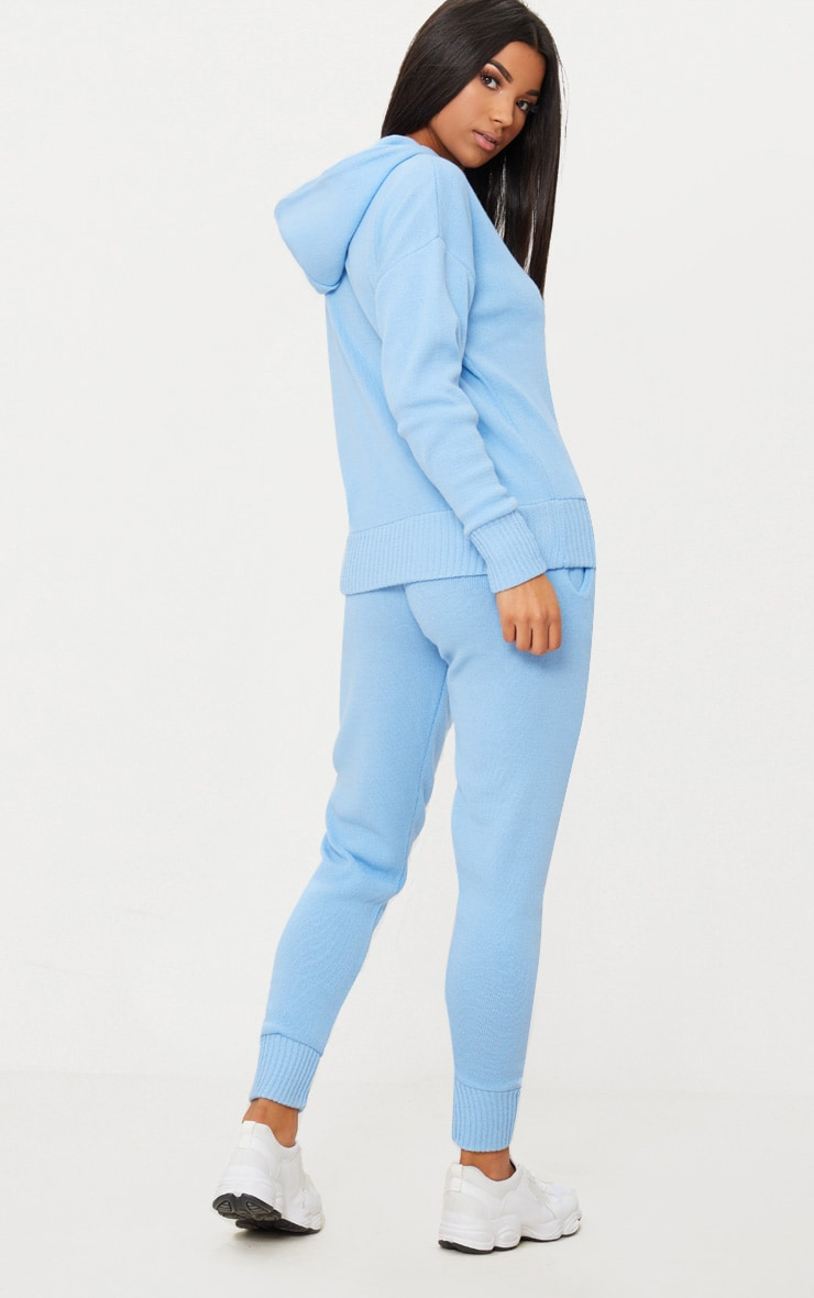 Dusty Blue Hooded Jogger Knitted Lounge Set 2