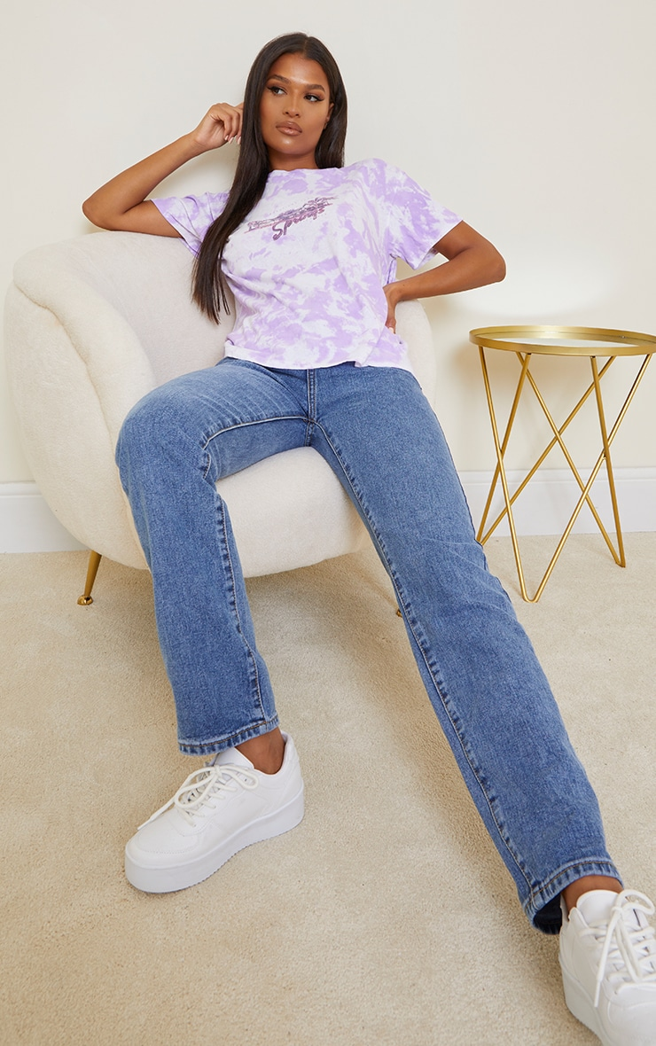 Purple Palm Springs Printed Washed T Shirt 3