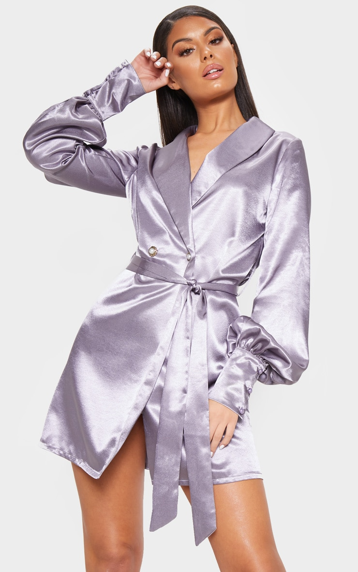 Lilac Satin Pearl Button Blazer Dress